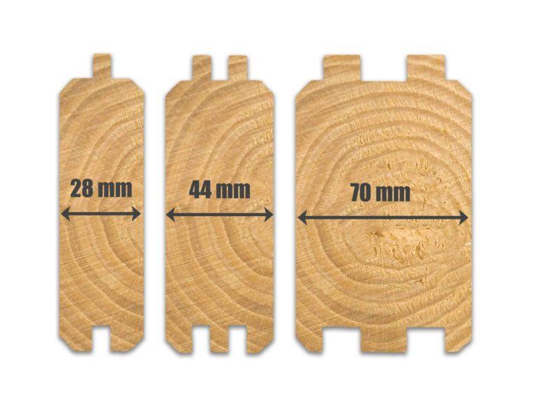 28mm, 44mm & 70mm log cabin wall profiles