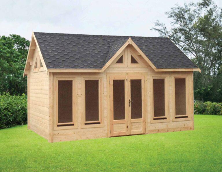 Glazed Pavilion Log Cabin