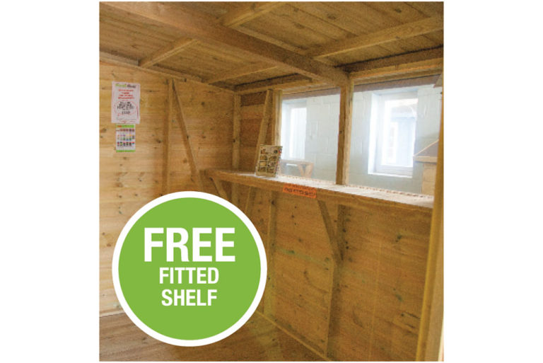 Pent Shed interior with free fitted shelf