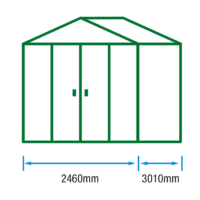 8ft (W) x 10ft (D) Metal Shed